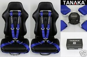2 X Tanaka Universal Blue 4 Point Camlock Quick Release Racing Seat Belt Harness
