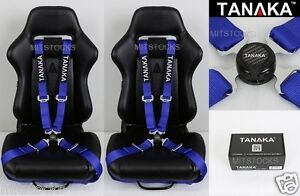 2x Tanaka Universal Blue 4 Point Camlock Quick Release Racing Seat Belt Harness