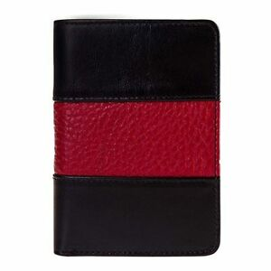 Fire Badge Wallet Black With Thin Red Line All Leather fits All Badge Shapes