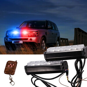 Red Blue White Police Dash Emergency Light Bar Wireless Warning Flashing Lights
