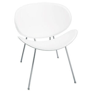 safco Sy Leather Reception Guest Chair Curved White saf3563wh