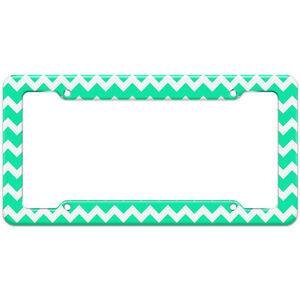 Chevrons Teal Pattern License Plate Frame