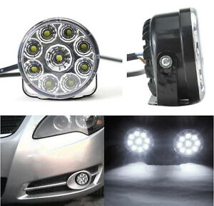 2pcs 9 Led Car Round Fog Light Daytime Running Lamp Drl Driving Bulb White New