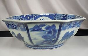 Chinese Blue White Porcelain Octagonal Bowl 11 5