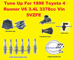 Ignition Tune Up 1996 Toyota 4 Runner Dist Cap Rotor Spark Plug Wire Set Pcv