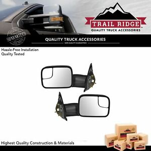 Trail Ridge Tow Mirror Power Heated Flip up Textured Black Pair For Dodge Ram