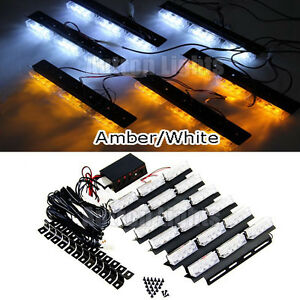 4pcs Led 6in1 Amber white Vehicle Strobe Emergency Warning Deck Dash Grill Light