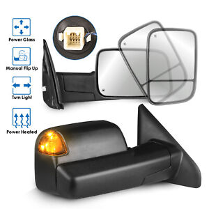 2pcs Power Heated Towing Mirrors For 02 08 Dodge Ram 1500 03 09 Ram 2500 3500