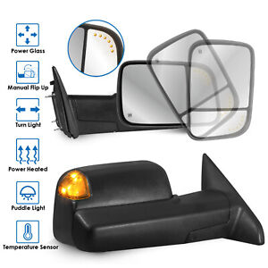 2x Power Heated Towing Mirrors W Puddle Lights Turn Signal For 09 12 Ram 1500