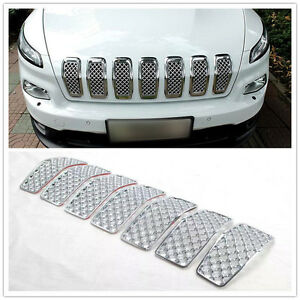 For Jeep Cherokee 2014 2016 Chromed Front Grille Inserts Mesh Grill Accessories