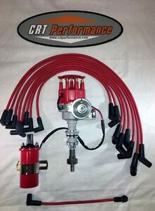 Ford 351w Windsor Red Small Cap Hei Distributor 45k Coil 8mm Plug Wires