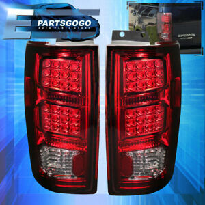 1997 2002 Ford Expedition Led Taillights Lamp Chrome Housing Red Smoke Lens