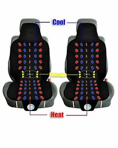 Zento Deals 2x Black Car Seat Cushion Automotive Cooling Heated Warm Massage Pad