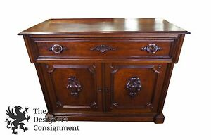 Early American Antique 19th C Carved Walnut Butlers Desk Secretary Writing Maple