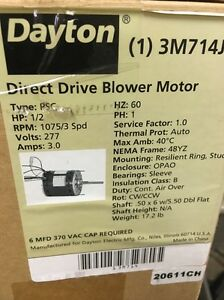Dayton 3m714j Direct Drive Blower Motor 1 2 Hp 1075 Rpm 277v new