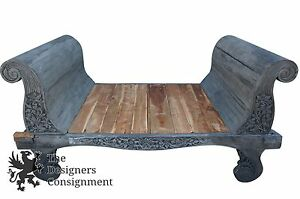 Massive Hand Carved 8 Foot Bali Sleigh Day Opium Bed Gray Floral Accent Rare