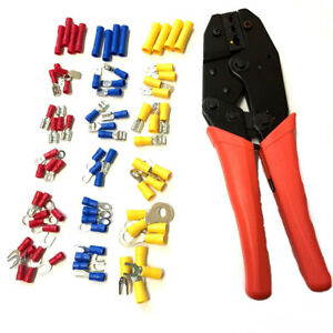 Ratchet Crimping Plier Tool Plus 76 Assorted Auto Electrical Terminals In Box
