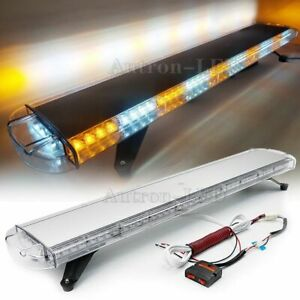 47 Inch Led Warn Emergency Response Traffic Adviser Amber White Strobe Light Bar