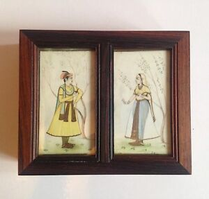 Antique Indian Wooden Box With Two Miniatures Paintings