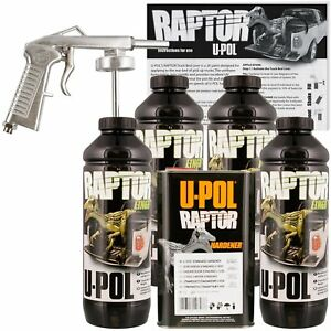 U Pol Raptor Black Truck Bed Liner Kit W Free Spray Gun 4 Liters Upol
