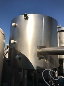Crepaco 350 Gallon Stainless Steel Jacketed Tank Dent On Side 109 Psi Jacket