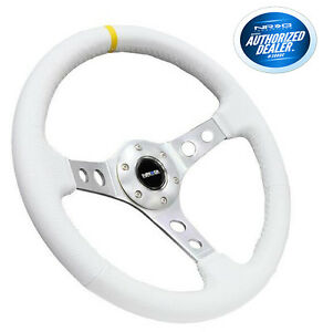 Nrg 350mm 2 deep Dish Steering Wheel White Leather Silver Spokes Rst 006wt y
