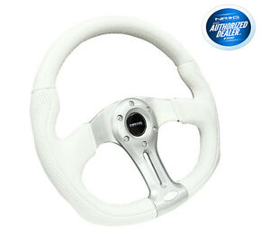 Nrg 350mm Sport Oval Steering Wheel White Leather Silver Spokes Rst 013wt