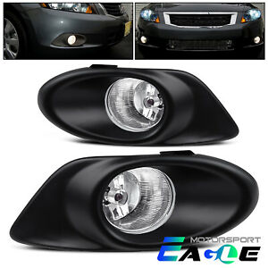 For 2008 2009 2010 Honda Accord 4d Clear Bumper Fog Lights Pair W Switch Harness
