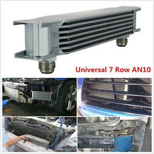 Universal Silver 7 Row An10 Engine Transmission 248mm Oil Cooler W Fittings Kit