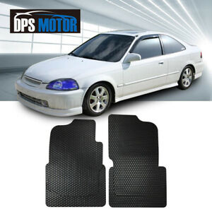 All Weather Black Beige Rubber 4 Pcs Floor Mats Front Rear For 96 00 Honda Civic