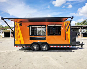 8 5x18 Orange And Black Full Food Trailer