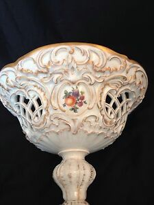 Dresden Style Porcelain Compote Hand Painted Floral Fruit Decoration
