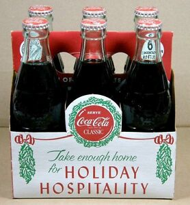 1989 COCA-COLA Xmas Edition 12/25/23 Long Island  NY 6 FULL BOTTLES + CARTON