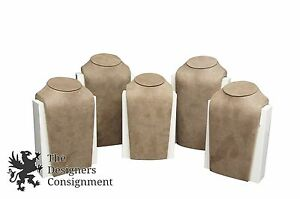 Set Of 5 Suede And Plastic Designer Jewelry Display Busts W Storage Compartment