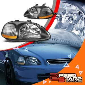 For 96 98 Honda Civic Ej Ek Em Black Housing 1 Pc Headlights Amber Corner Light