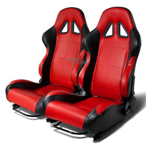 Type 5 Black red Pvc Leather Full Reclinable Racing Seats Pair slider Rails X2