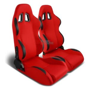 Pair Fully Dial Reclinable Red Cloth black Bucket Racing Seat adjustable Slider