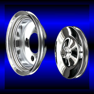 Chrome Small Block Chevy Power Steering Add On Pulley Set 2 Pulleys 283 327 350
