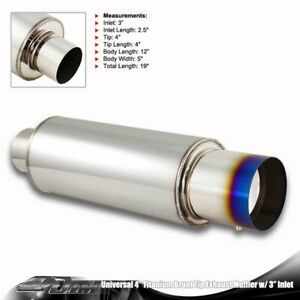 4 Burnt Titanium Style Tip T 304 Stainless Steel Body Muffler With 3 Inlet