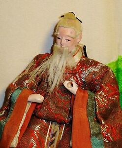 Antique Pre 1920 Japanese Seated 5 5 Old Male Attendant Hina Doll Aad4161415 9