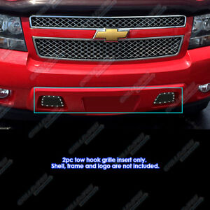 Fits 2007 2014 Chevy Avalanche Tahoe Stainless Black Tow Hook Mesh Rivet Grille