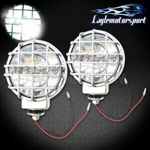6 Built in 4x4 Round Hid Off Road Lights Chrome Fog Lamps Cover switch wire Kit