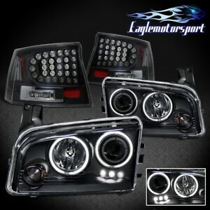 2006 2007 2008 Dodge Charger Ccfl Halo Projector Headlights Led Tail Lights Set