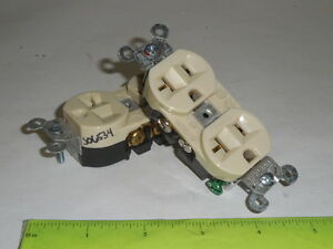 Hubbell Duplex Outlet Receptacle Ivory 9 lot P n 5362i 20a 125v 2 pole 3 wire