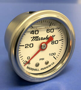 Marshall Gauge 0 100 Psi Fuel Pressure Oil Pressure White 1 5 Diameter Liquid