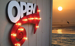 Open Sign Marquee Attract More Customers Fun Whimsical Arrow Design