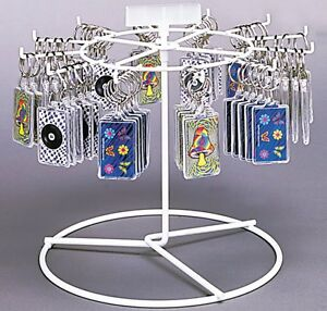 Counter Key Chain Small Item Spinner Display Rack 1 Tier 12 Peg white