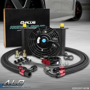 25 Row An10 Engine Oil Cooler Filter Adapter Hose 7 Electric Fan Kit