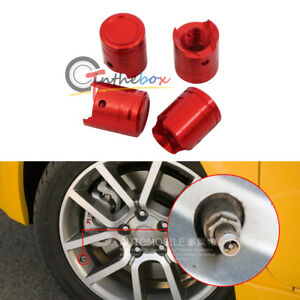 4 Metal Red Engine Block Conrod Piston Tire Wheel Valve Dust Caps Air Dust
