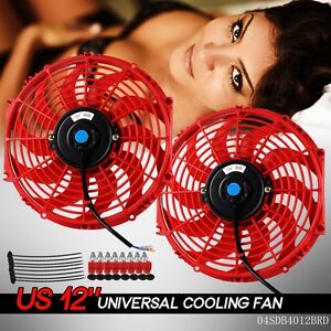 2x 12 Inch Universal Slim Fan Push Pull Electric Radiator Cooling 12v Mount Kit